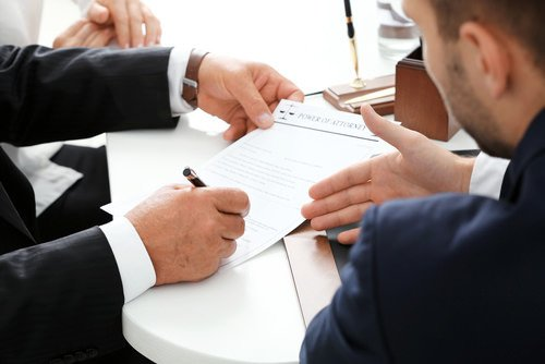 attorneys negotiating over a document