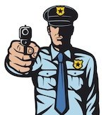 cartoon of police holding gun