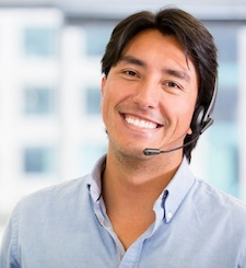 Male receptionist waiting for your call.