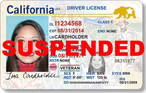 """California driver's license marked """"SUSPENDED"""""""