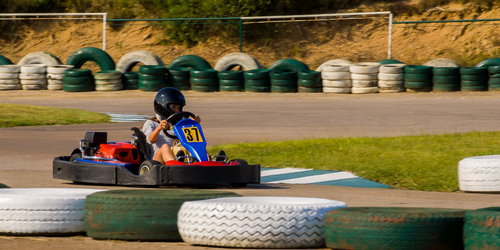 go kart racing track with tires around sides