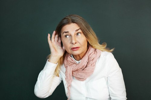 lady suffering from hearing loss
