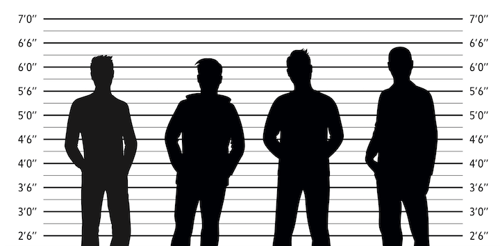 Police lineup of four people in silhouette
