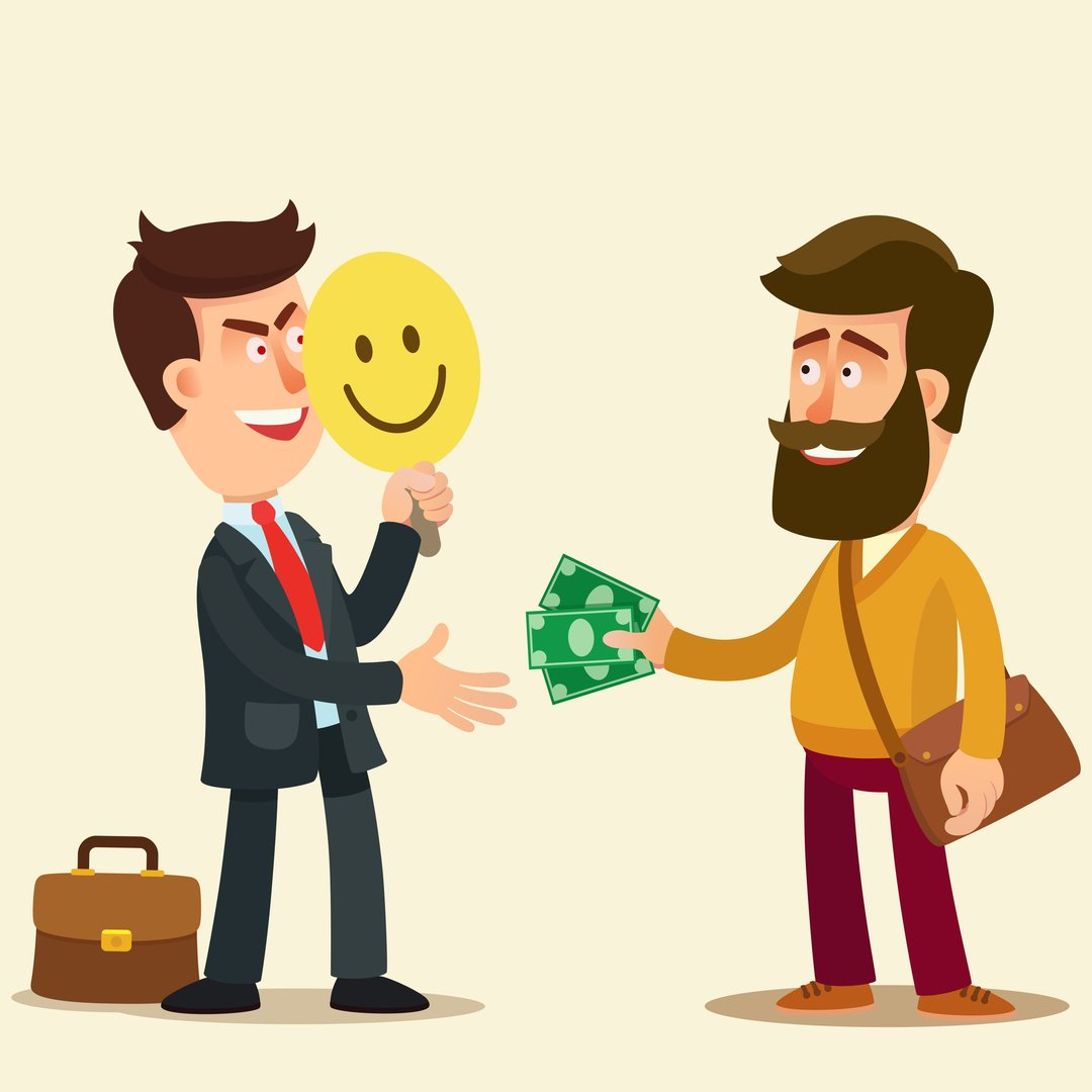 Cartoon of man with a mask receiving money from someone while laughing sinisterly.
