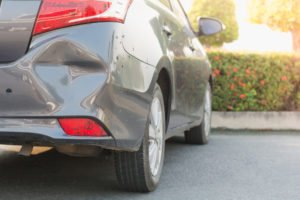 A damaged bumper - hit and run is generally treated as a felony only if a person is injured in the accident