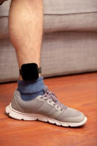 Close up of leg with GPS anklet