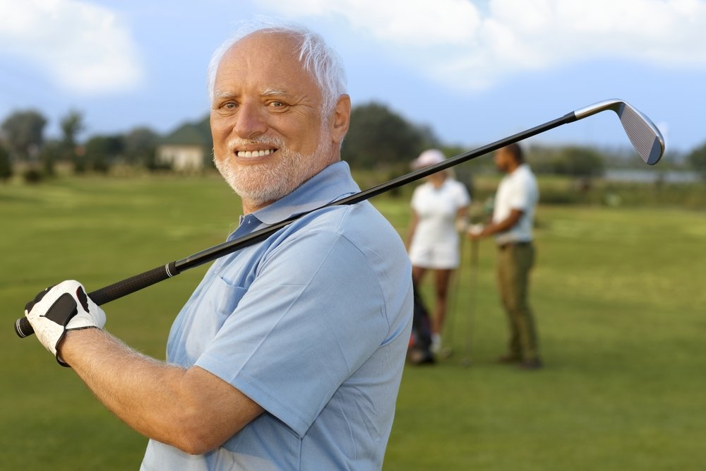 Elderly man out playing golf instead of appearing in court.
